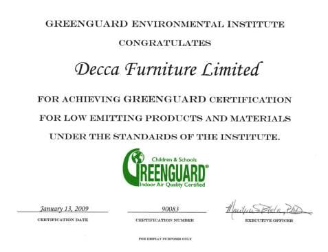 decca greenguard certificate