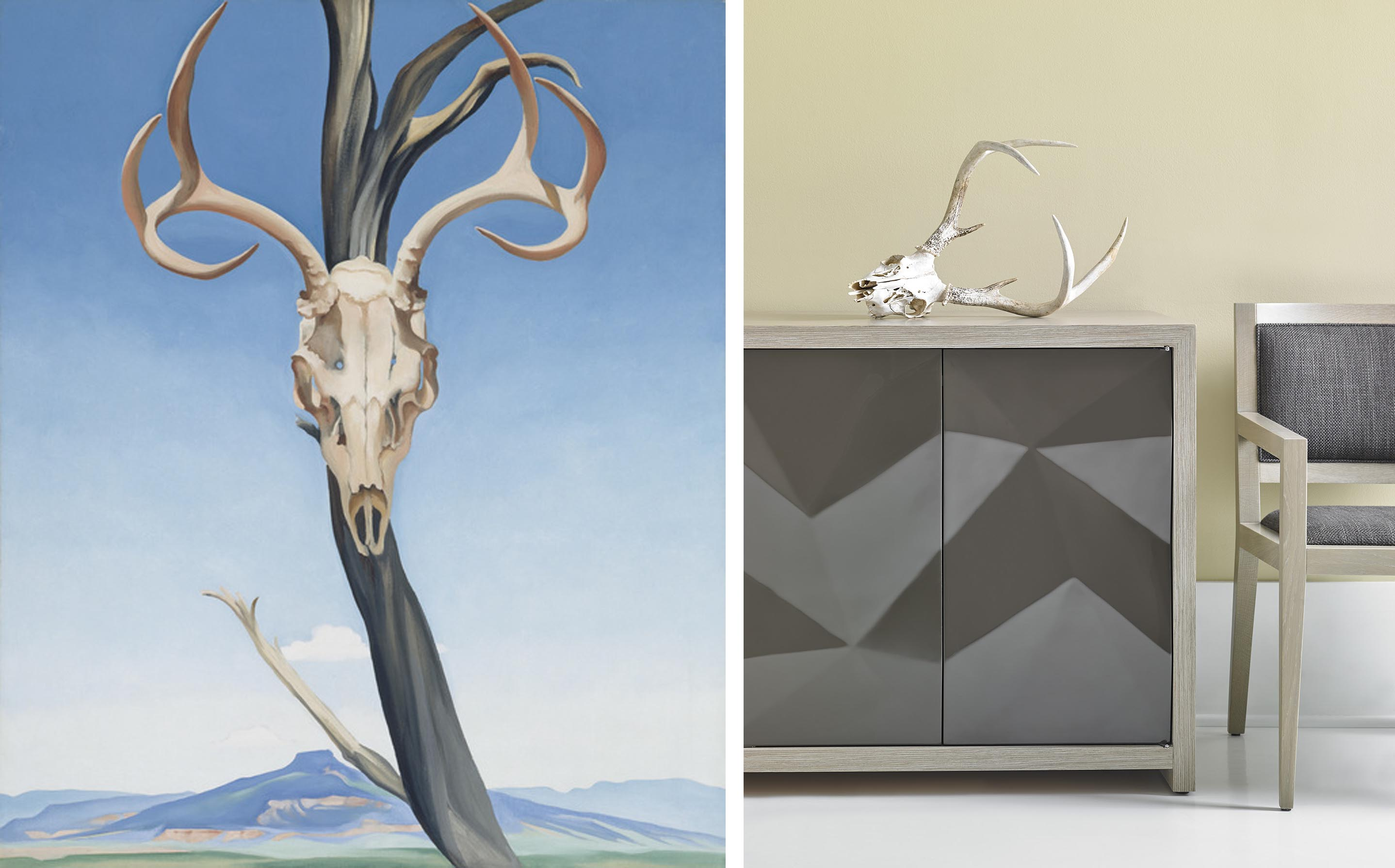 Georgia O'Keefe's Deer's Skull with Pedernal and Bolier Modern Desert
