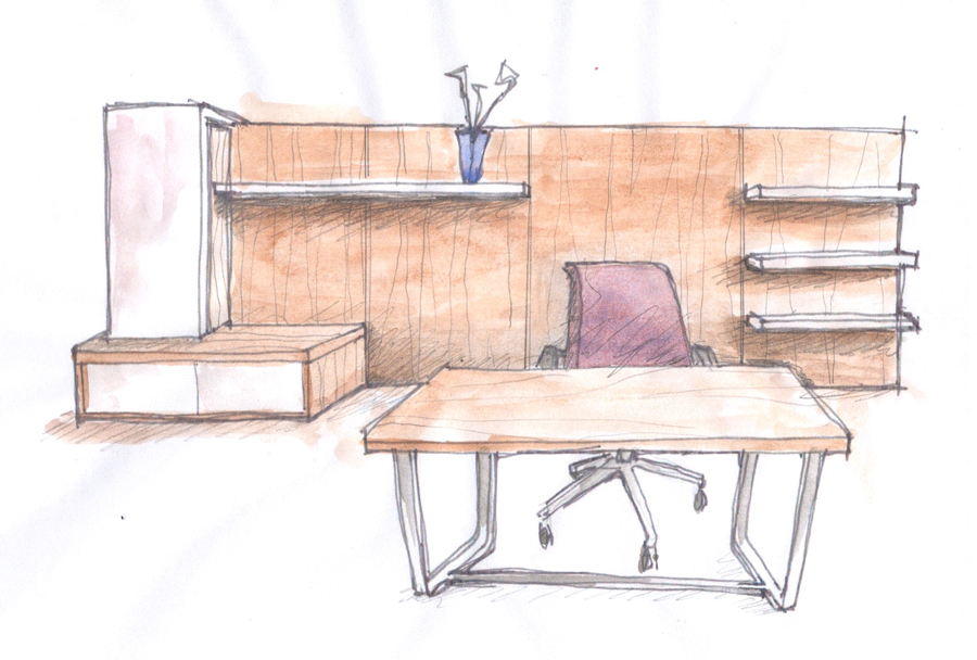 David Ritch and Mark Saffell of 5D Studio // Interview with Decca London // Contract furniture // sketch of the float desk