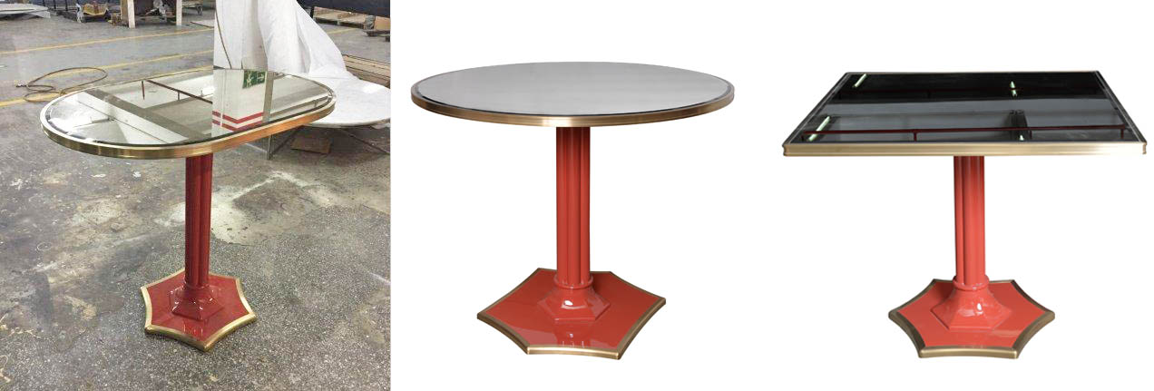 Bespoke tables coral red lacquer base-Decca Furniture