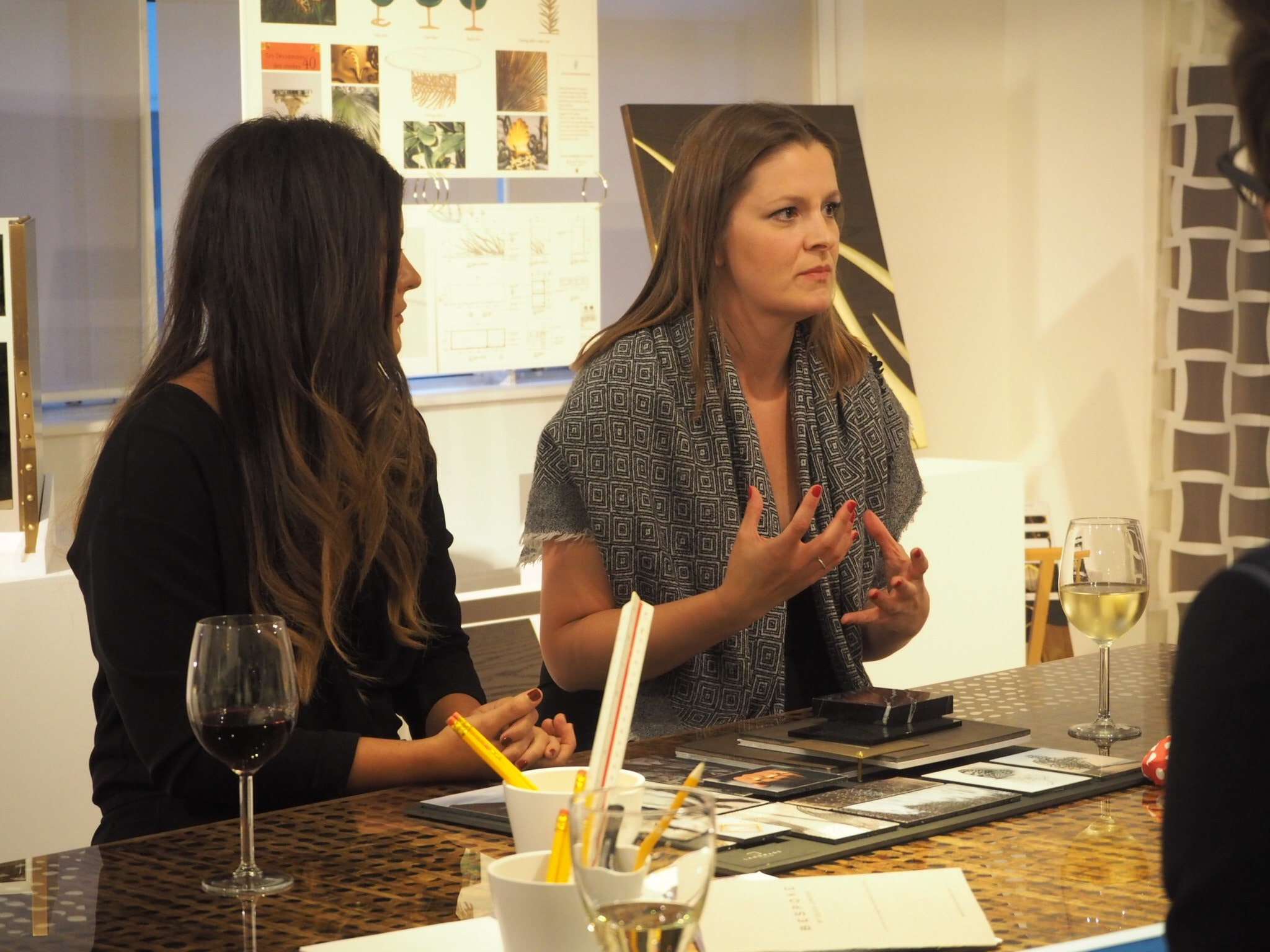 Ruth and Eleri of Landmass London presenting their collection to the judges-Bespoke By Decca London