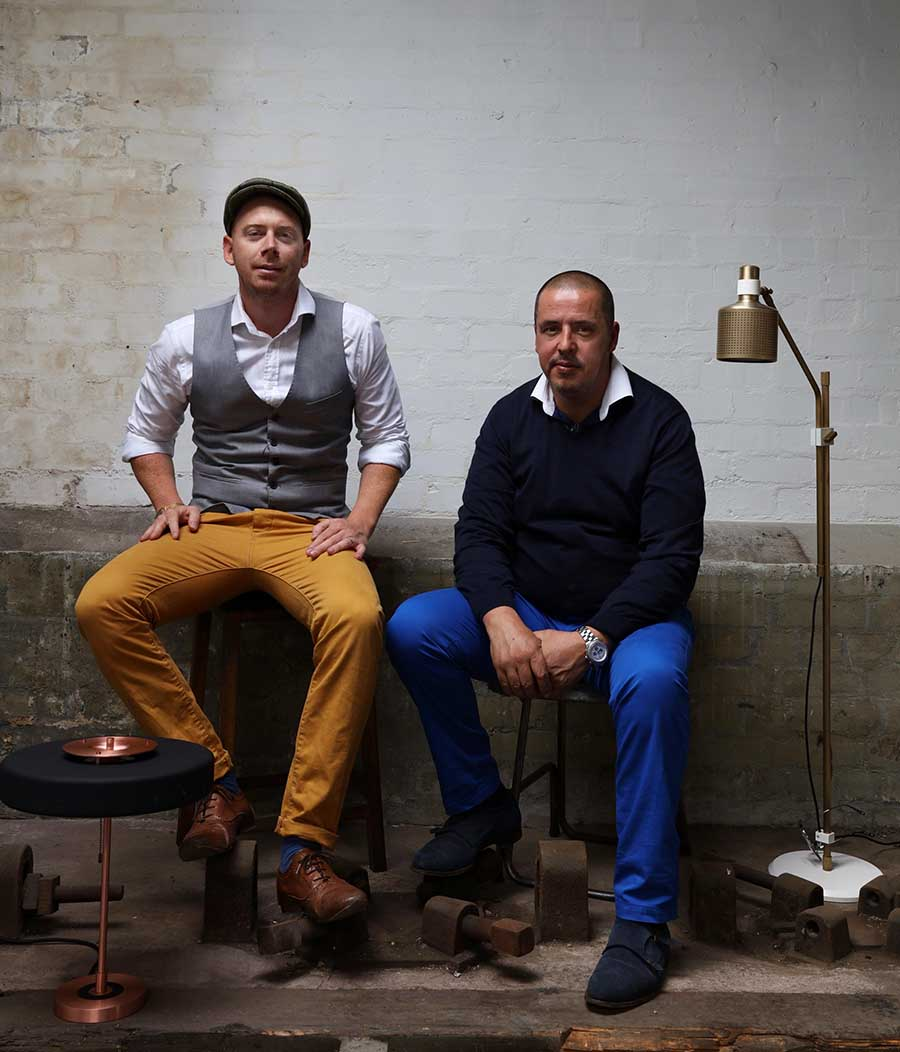 Robbie Llewellyn and Adam Yeats of Bert Frank_mid-century modern furniture collection and lighting
