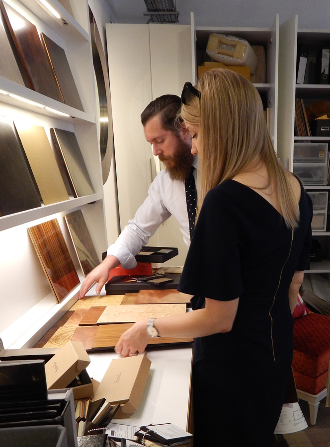 Cecilia of Elicyon going through samples at Decca London // Bespoke by Decca London workshop
