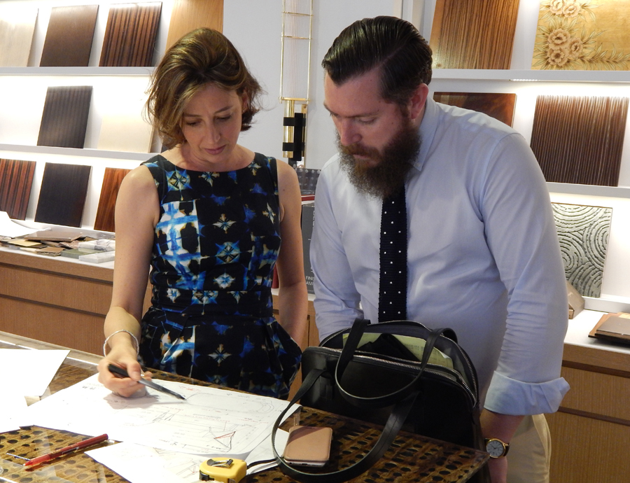 Siobhan Loates of Siobhan Loates Design going through finishes at Decca London // Bespoke By Decca London