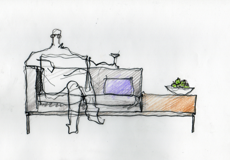 Brian Graham's sketch of the Span Collection designed for Decca Contract by Decca