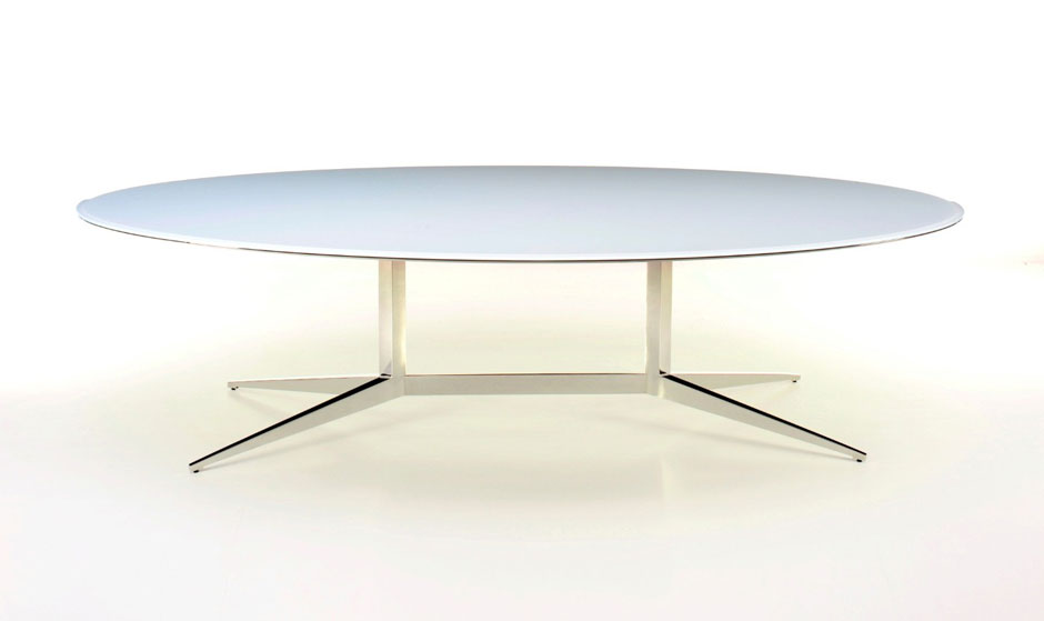 Oval painted glass dialogue conference table