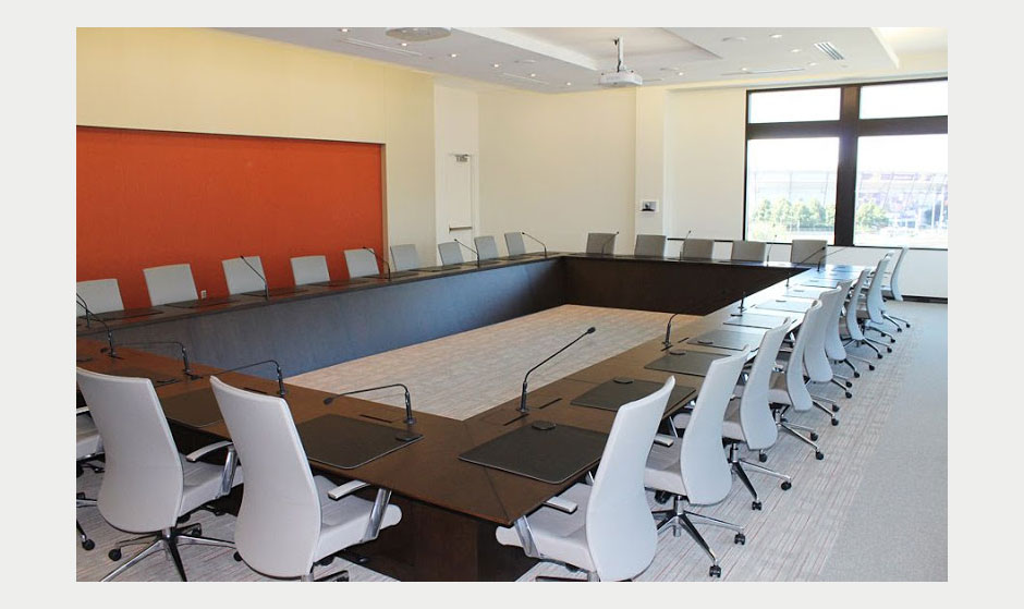 Hollow rectangular conference room table