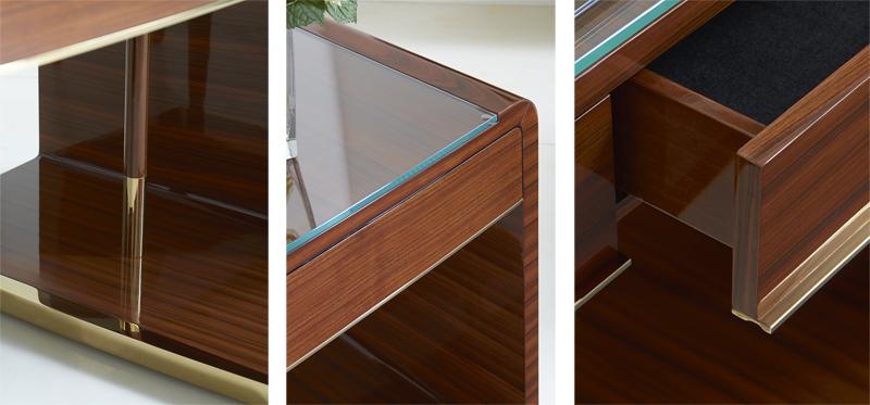 Cosmopolitan by Dakota Jackson // Decca London - luxury furniture - high gloss furniture - Auden desk - luxury desk - private office desk - detail photos - bent wood - rosewood detail