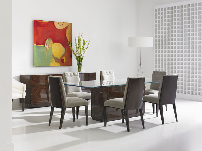 Cosmopolitan by Dakota Jackson - luxury furniture collection - luxury dining room - glass top table - luxury dining table - leather dining chairs
