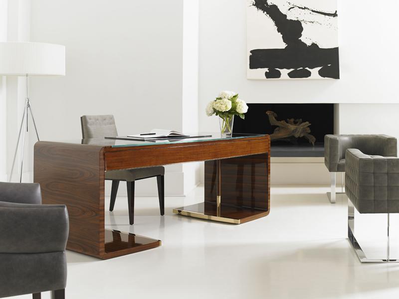 Cosmopolitan by Dakota Jackson // Decca London - luxury furniture - high gloss furniture - Auden desk - luxury desk - private office desk