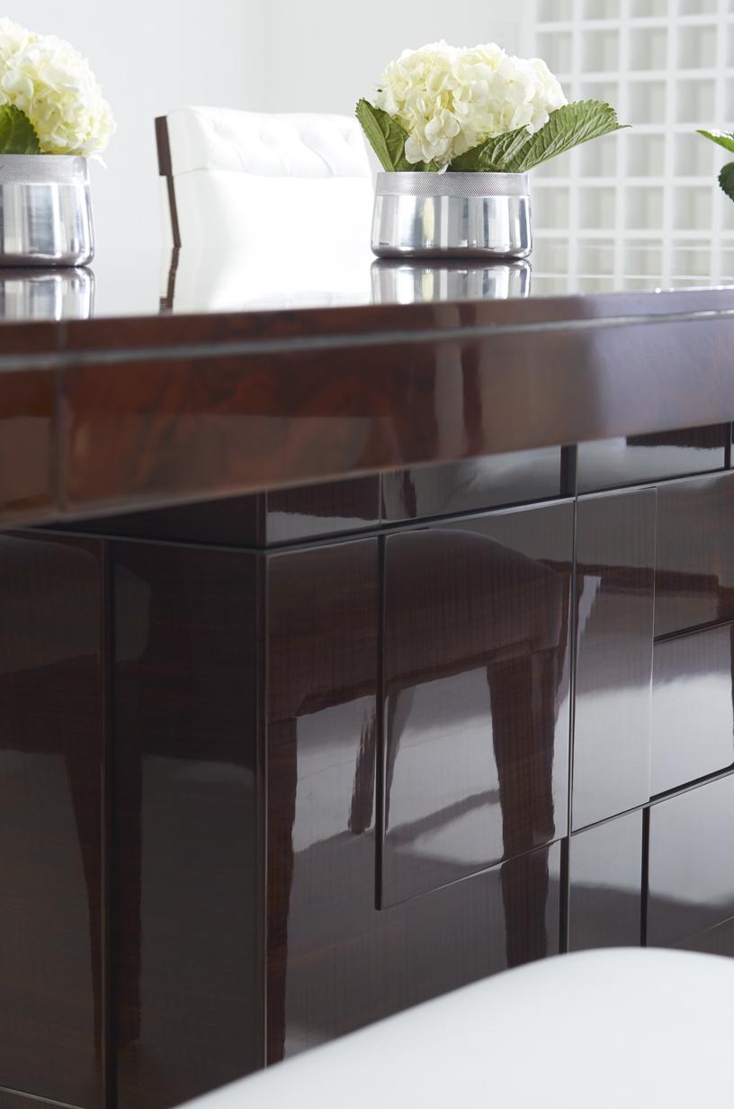 Cosmopolitan by Dakota Jackson - Decca London - Kingsley wood top dining table - luxury dining table - luxury dining room - high gloss furniture