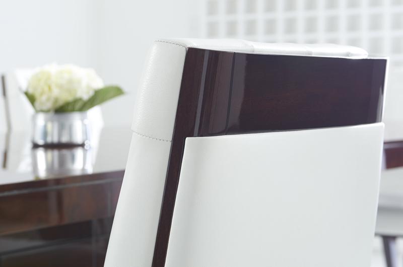 Cosmopolitan by Dakota Jackson - Decca London - leather dining chair - luxury dining chair - luxury dining room - high gloss furniture