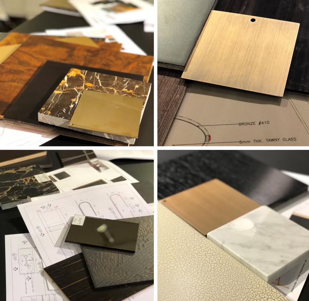 Custom Decca finish samples interior design