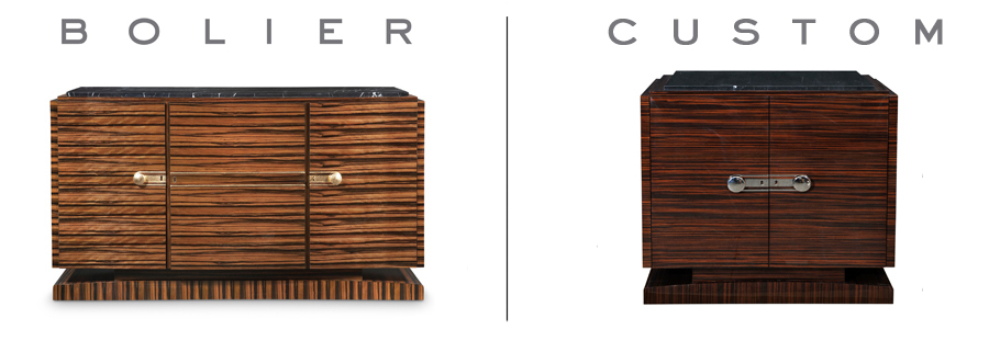 Credenza from the Classics Collection by Bolier (left) and a customised version made for a residential project (right)