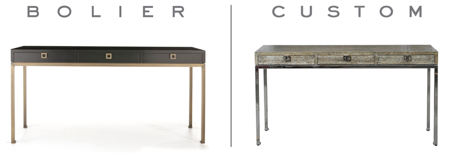 Console from the Occasional Collection by Bolier (left) and a customised version made for a residential project (right)