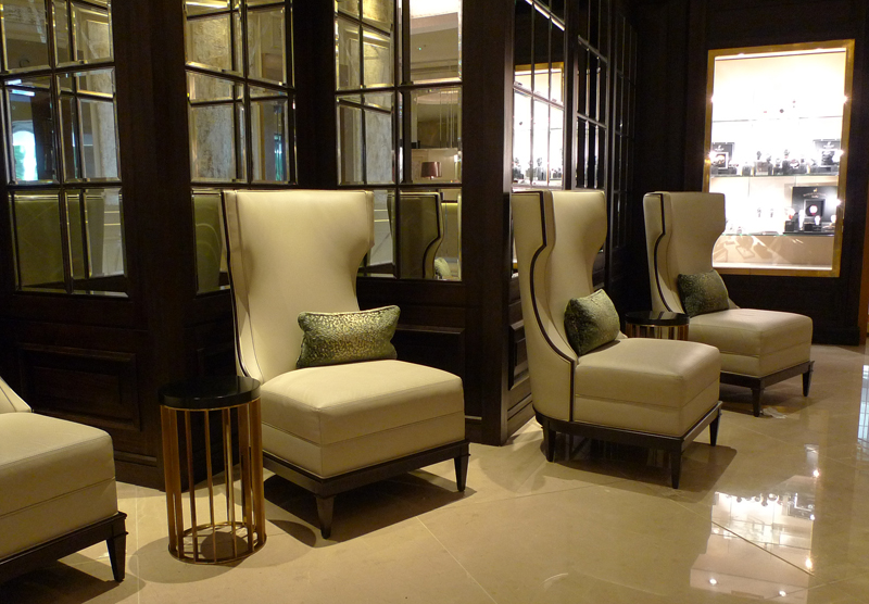 Lobby at The Park Tower Knightsbridge with the Modern Luxury Lounge Chairs