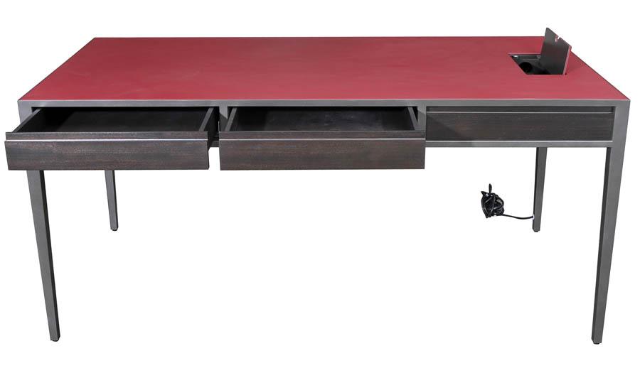 Decca London-bespoke furniture-red desk-private office-bespoke by decca-michael veal
