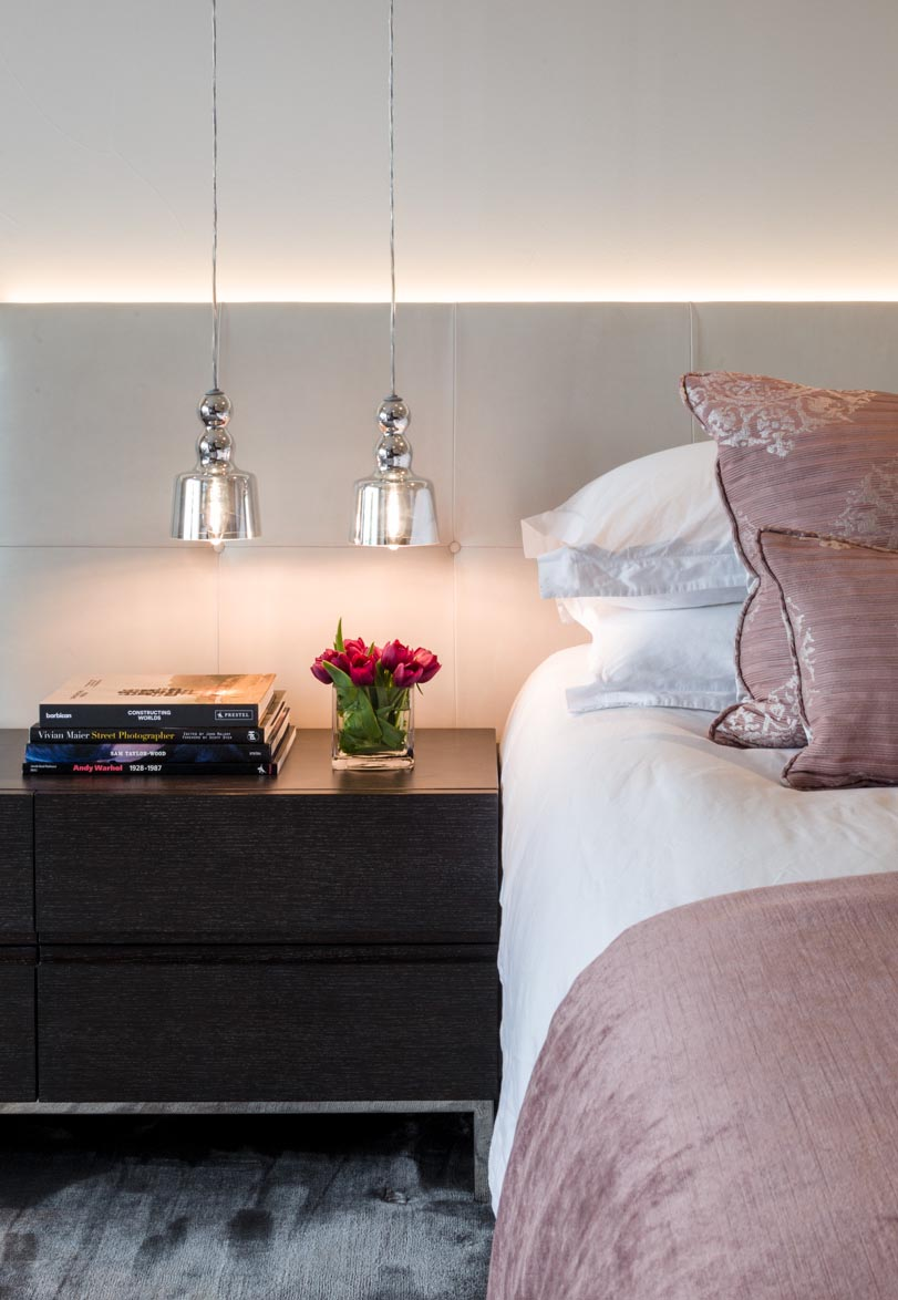Decca London-residential projects-Michael Veal-master bedroom--bedside table-pink furniture-bespoke by decca