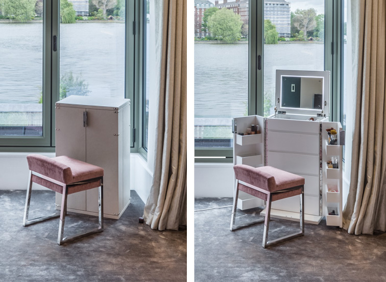 Decca London-residential projects-Michael Veal-master bedroom-pink furniture-bespoke by decca-vanity unit-make up table