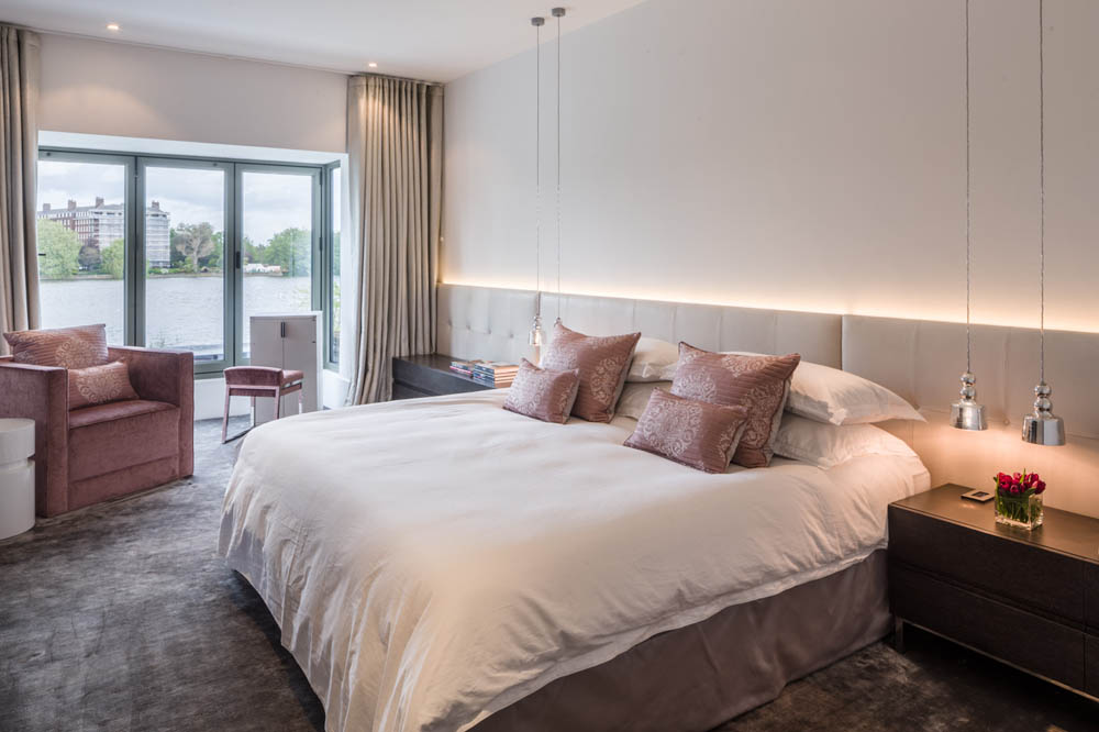 Decca London-residential projects-Michael Veal-master bedroom-pink furniture-bespoke by decca
