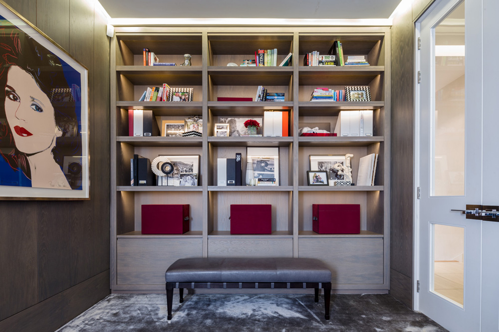 Decca London-residential projects-Michael Veal-private office-study room-leather bench-bespoke by decca