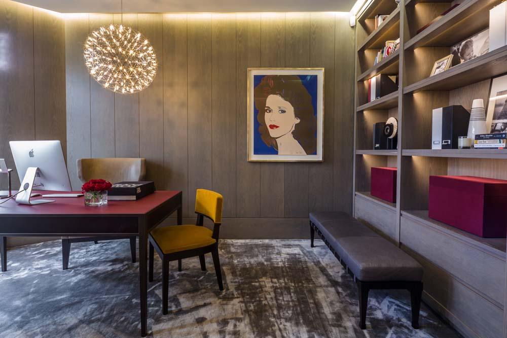 Decca London-residential projects-Michael Veal-private office-study room-red desk-leather bench-bespoke by decca
