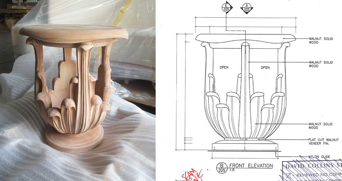 The Ritz Carlton Residences MahaNakhon David Collins x Decca hand-carved side table detail