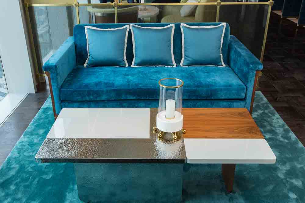 The Ritz Carlton Residences coffee table hammered metal detail