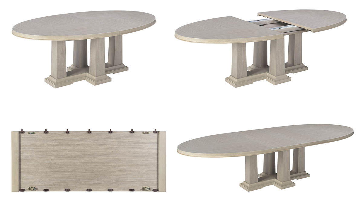 65016-0612 Expandable Oval Dining Table with leave-Domicile-Modern Desert-Bolier-Decca