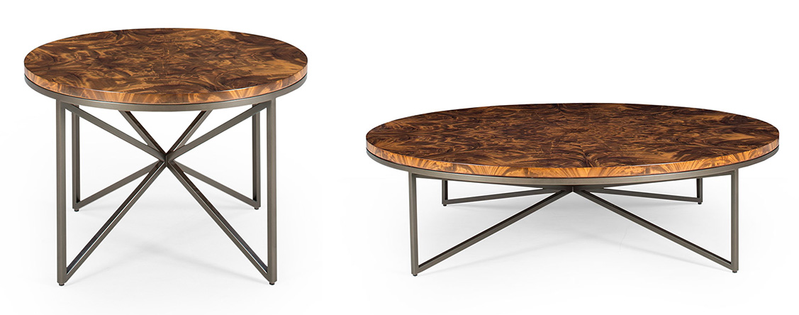 Domicile Collection - Occasional tables with amber crotch tops