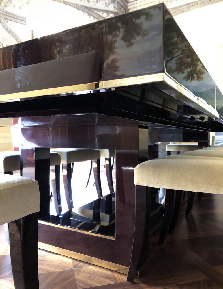 Bespoke extendable dining table metal edging detail
