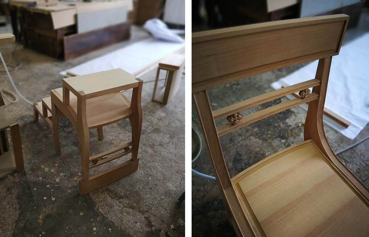 Bespoke library chair that transforms into a library stool