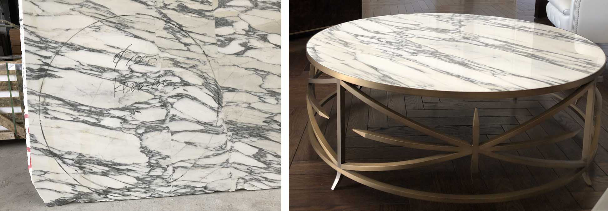 Marble for custom cocktail table by Decca London