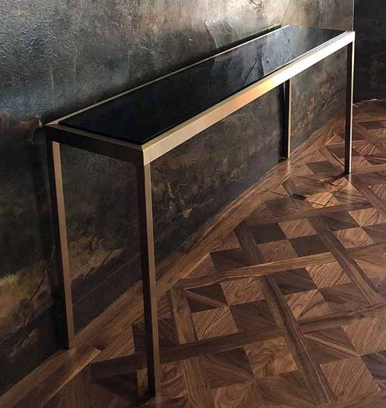 bespoke console with smoked glass top Decca London