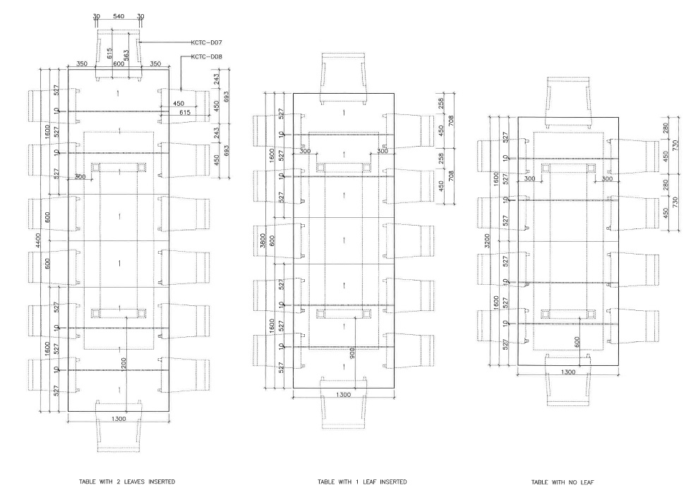 bespoke dining table technical drawing