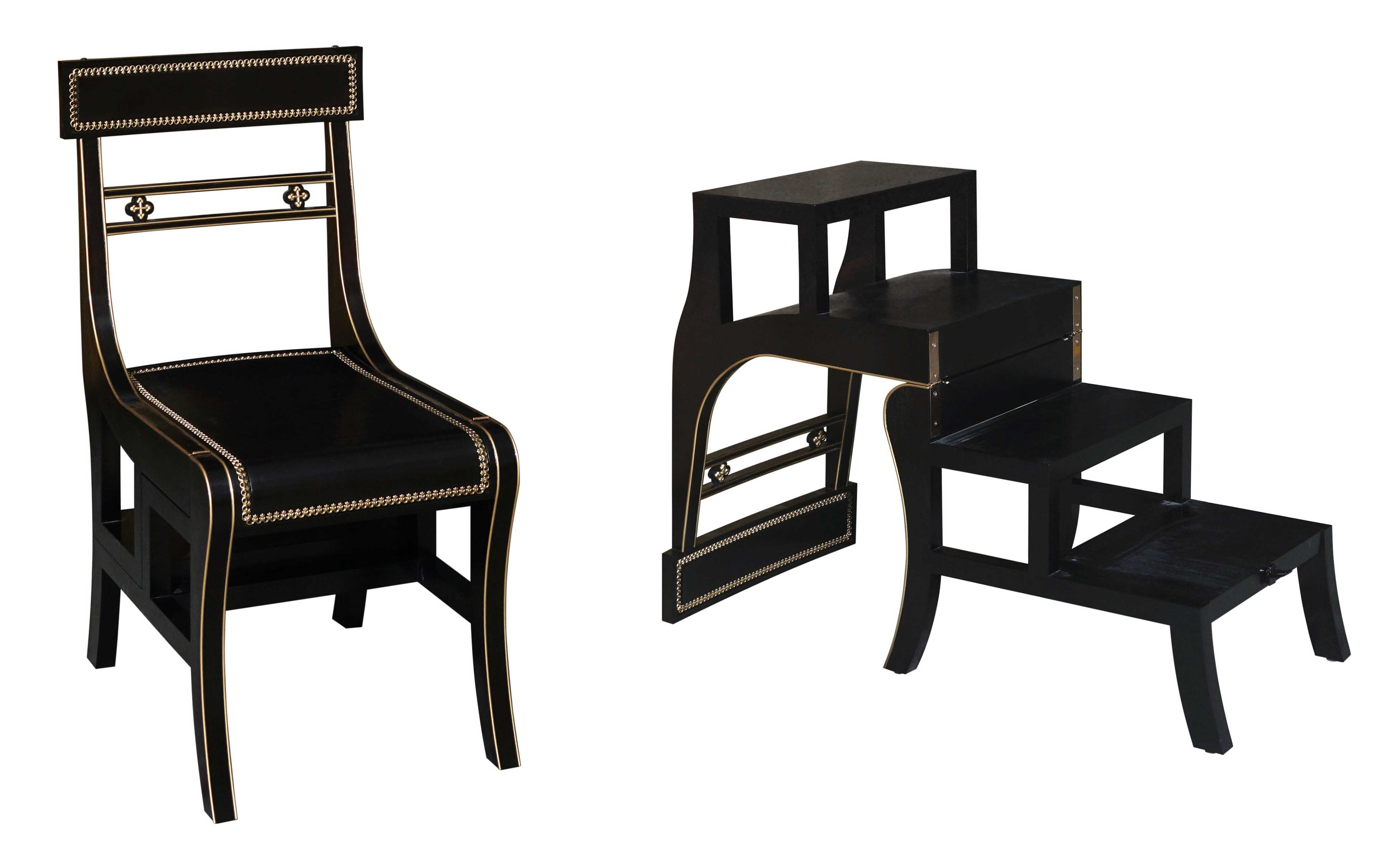 bespoke library chair and stool by Decca London