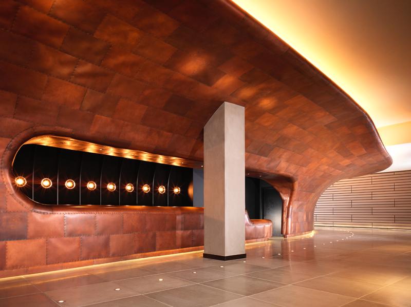 Mondrian London at Sea Containers // Reception in copper finish