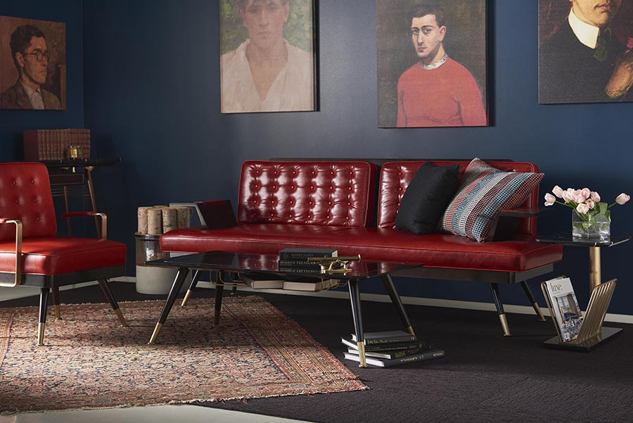 The London Collection By Bert Frank_red leather sofa room set