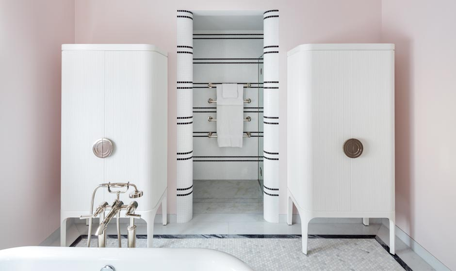 Carden Cunietti residential bathroom storage unit made by decca