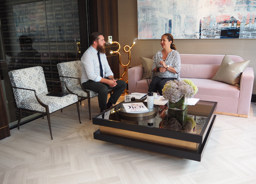 James Fiddy, Decca London sales manager at a meeting with Sandra Drechsler, Design Director of Taylor Howes