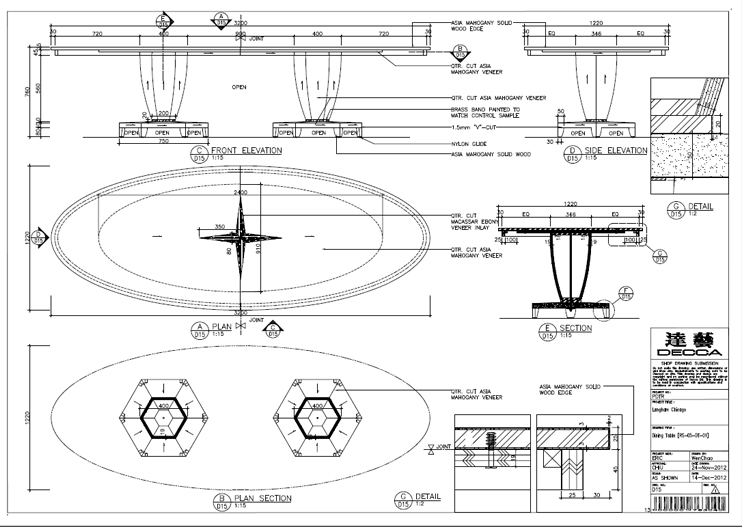 The Langham Chicago_Regent Suite_dining table technical drawing