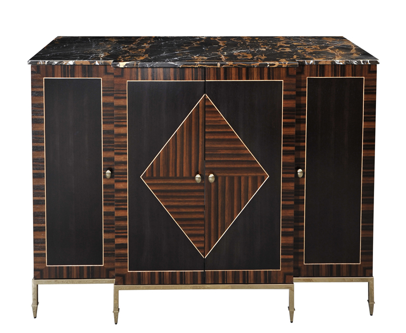 Decca-London-hospitality-projects-premier-suite's-minibar-veneer-layups-macassar-ebony