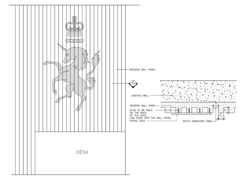 Decca London case studies // One Kensington Gardens laser-cut unicorn logo shop drawing