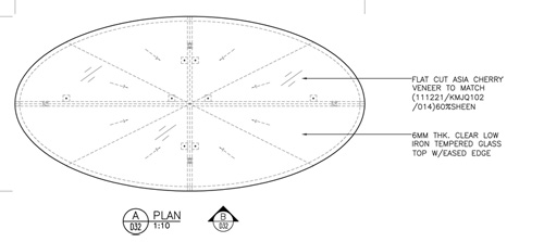 One Kensington Gardens Spa // Bespoke furniture for hospitality projects by Decca London-shop drawing-oval coffee table