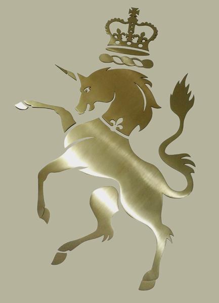 Decca London case studies // One Kensington Gardens laser-cut unicorn logo