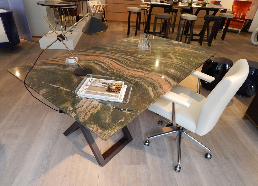 Bespoke by Decca // Bespoke marble topped desk with the base from our Objets Collection // Bespoke furniture by Decca London