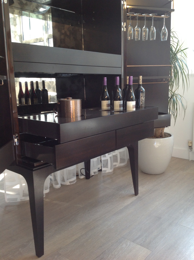 Bespoke by Decca // Bespoke Dry Bar Cabinet (interior with shelves) // Bespoke furniture by Decca London