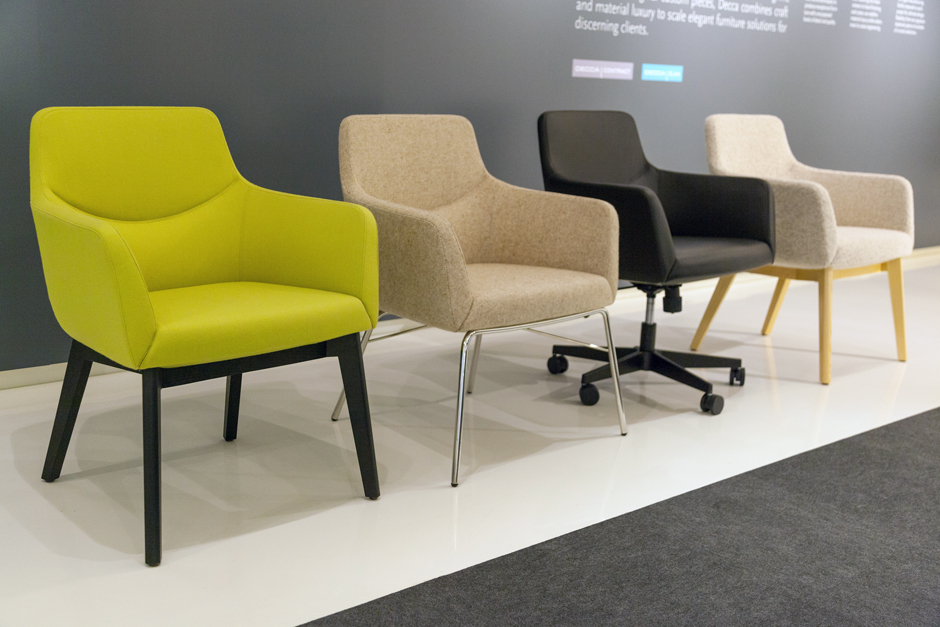 Decca Contract by Deca - Decca London - Bing collection - luxury lounge seating - colourful lounge seating - Bing Work Lounge chairs with a variety of base options - office chairs london