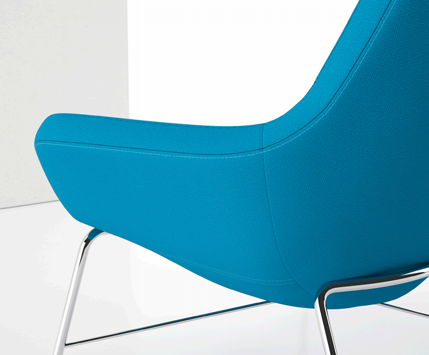 Decca Contract by Deca - Decca London - Bing collection - luxury lounge seating - colourful lounge seating - Bing Lounge Chair - blue office chair metal base