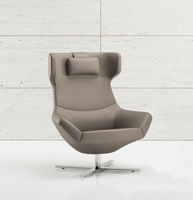 Decca Contract by Deca - Decca London - Bing collection - luxury lounge seating - Bing Luxe Lounge Demi Wing Chair with head cushion - luxury executive chair